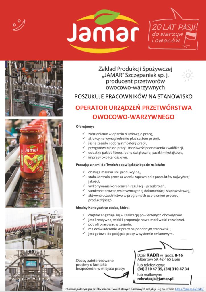 Operator urządzeń przetwórstwa owocowo-warzywnego