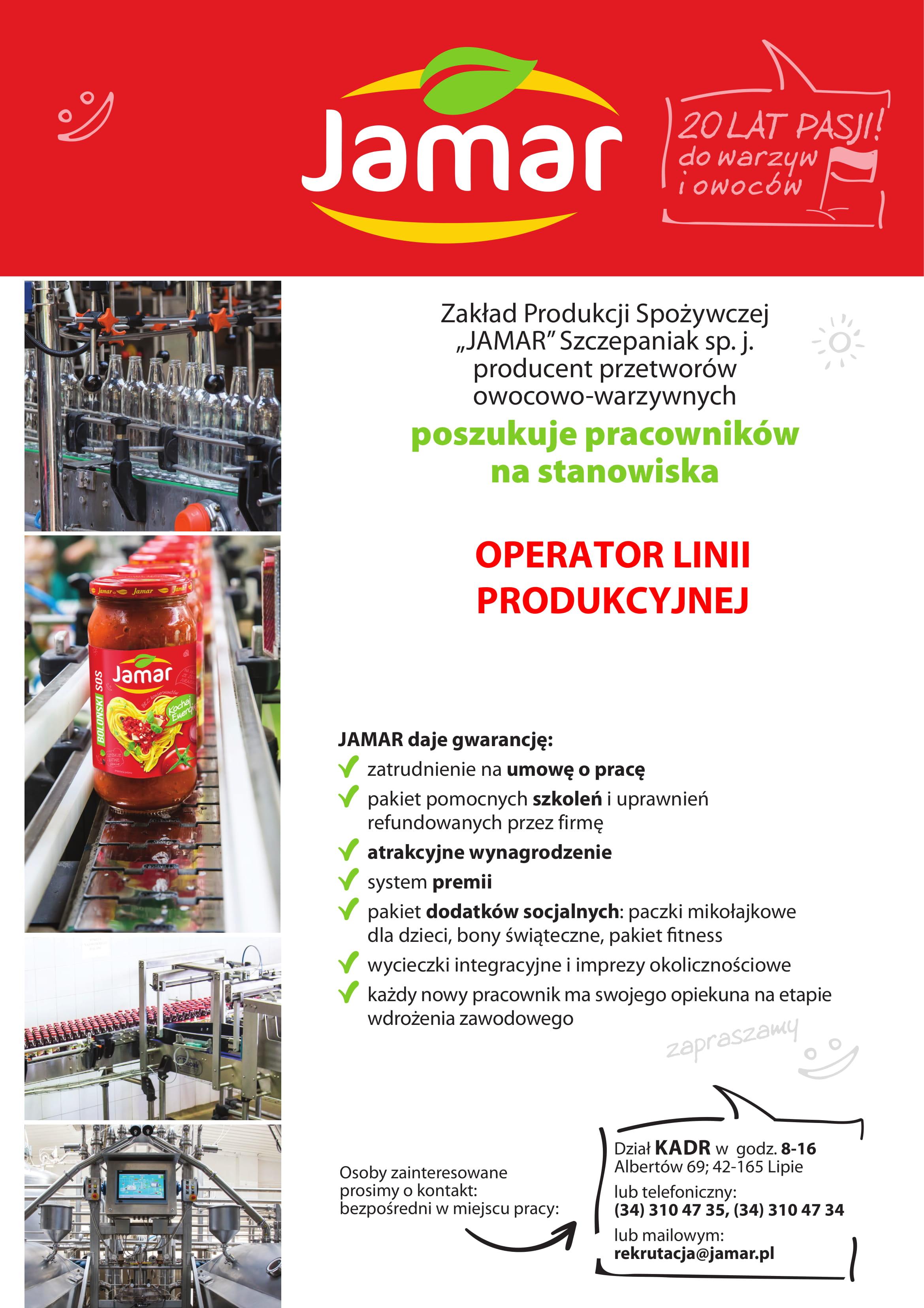 jamar poszukuje pracownikow na stanowiska operator linii produkcyjnej