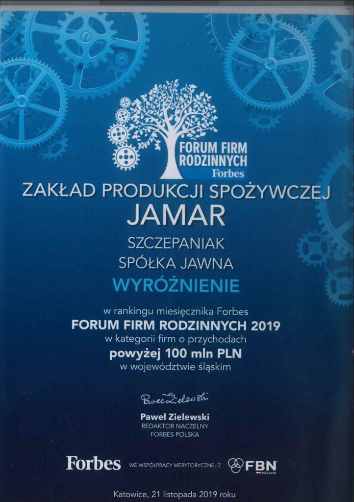 Najcenniejsze Polskie Firmy Rodzinne Forbes wyroznienie JAMAR PL